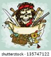 Pirate Skull logo design, vector illustrations with space for text, hand drawn collection - stock photo