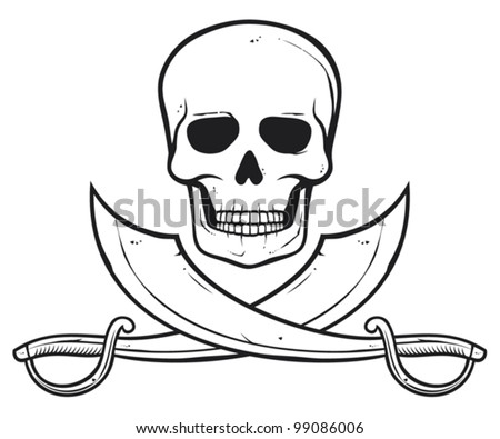 Pirate skull (skull and crossed sabers) - stock vector