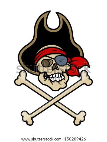 Pirate Skull Tattoo - Vector Cartoon Illustration - stock vector