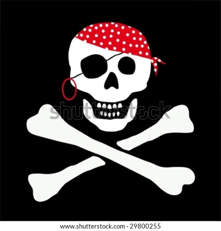 pirate skull vector - stock vector