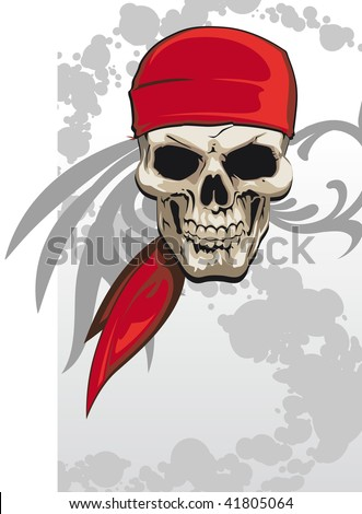 Pirate skull with red bandana background - stock vector