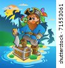 Pirate standing on chest on island - vector illustration. - stock photo