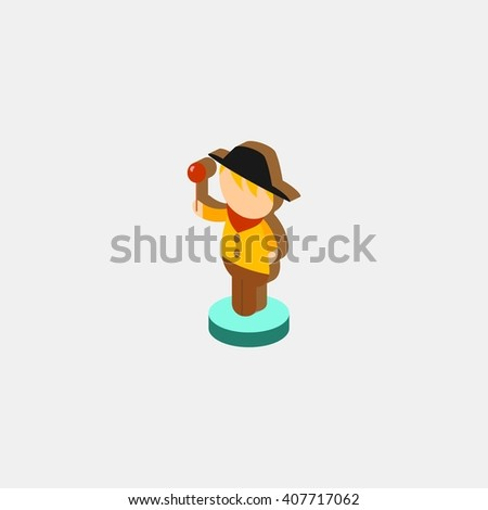 Pirate Statue amusements park isometric. Amusement park icons. amusement park abstract isolated vector illustration. - stock vector