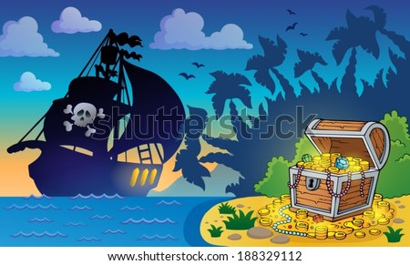 Pirate theme with treasure chest 6 - eps10 vector illustration. - stock vector
