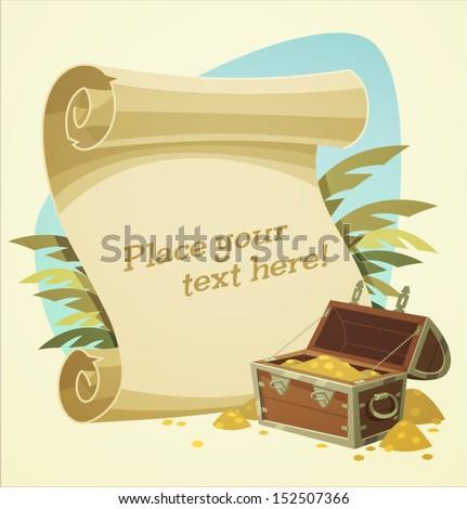 Pirate treasure chest. Vector illustration. - stock vector