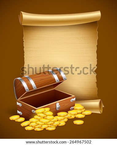 Pirate treasures in trunk and old script. Eps10 vector illustration - stock vector