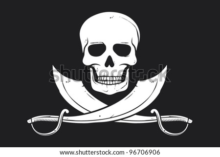 Pirate vector flag (skull and crossed sabers) - stock vector