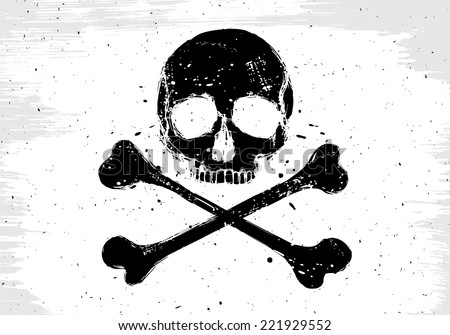 Pirate vector white flag with black human skull and crossbones, illustration in grunge design  style - stock vector