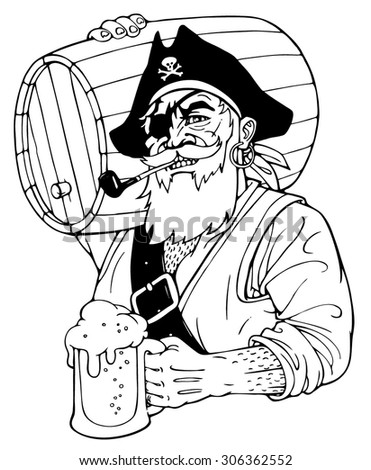 Pirate with a beer and a barrel. Isolated. Vector illustration