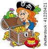 Pirate woman opening treasure chest - vector illustration. - stock photo