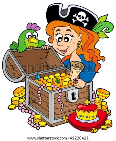 Pirate woman opening treasure chest - vector illustration. - stock vector