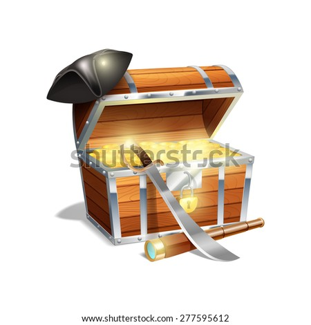 Pirate wooden treasure chest trunk with gold spy glass cutlass and black triangle hat abstract vector illustration