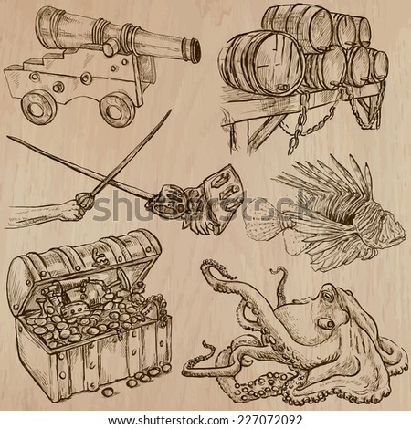 Pirates, Buccaneers and Sailors - Collection (no.9) of an hand drawn illustrations. Description: Each drawing comprise of three layer of outlines, the colored background is isolated.