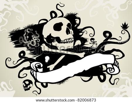 pirates flag - stock vector
