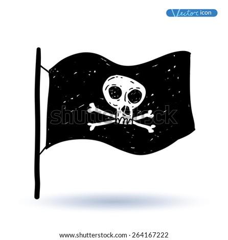 Pirates Flag,vector illustration. - stock vector