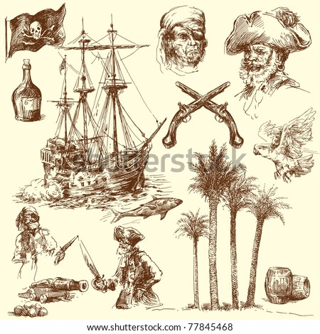 pirates-hand drawn collection - stock vector
