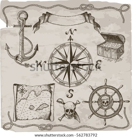 Pirates hand drawn vector set. Hand drawn isolated pirate attributes: compass, map, skull, anchor, chest, wheel, ropes, text box.