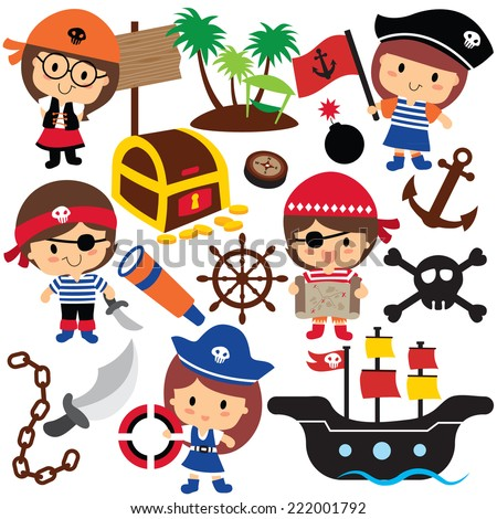 pirates kids clip art - stock vector
