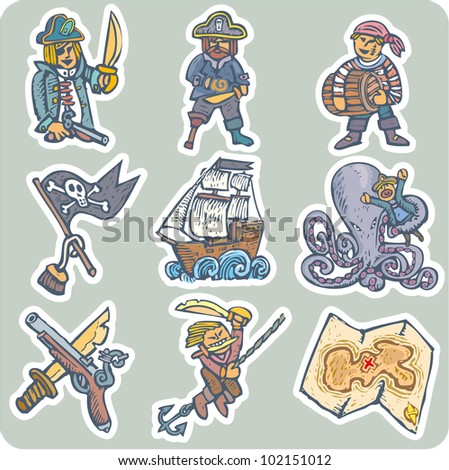 Pirates life situations. Collection of nine different ones - stock vector