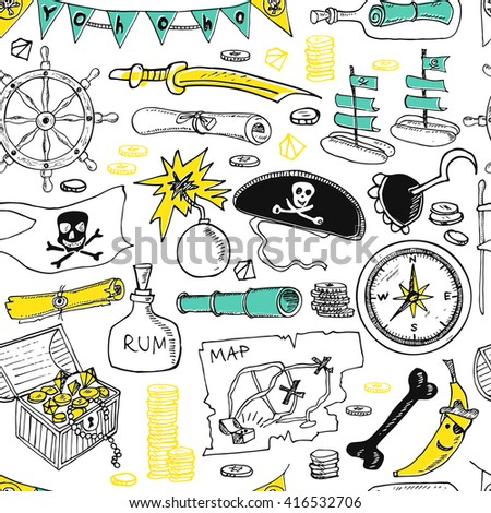 Pirates seamless pattern. Pirate hat swords guns treasure chest black flag jolly roger emblem skull and crossbones pirate costume elements. Isolated  Vector illustration. - stock vector