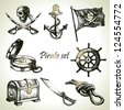 Pirates set. Hand drawn illustrations - stock photo