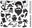 Pirates, ships, sea icon set. Vector art. - stock vector