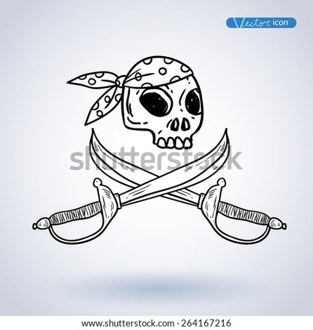 Pirates sign, vector illustration. - stock vector