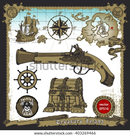 Pirates themed freehand drawings set. Symbols - swords, weapons, treasure chest, ship, jolly roger emblem, skull and bones, compass, musket, map, coins. All elements on separate layers