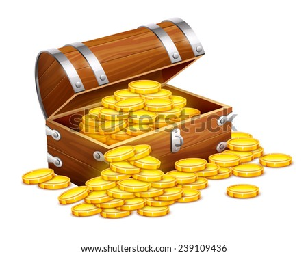 Pirates trunk chest full of gold coins treasures. Eps10 vector illustration. Isolated on white background - stock vector