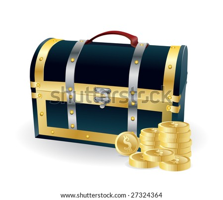 pirates wooden chest with golden coins - stock vector