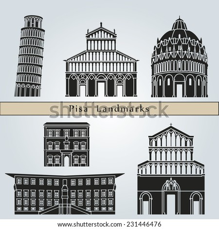 Pisa landmarks and monuments isolated on blue background in editable vector file - stock vector