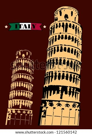 Pisa leaning tower in Italy, Vector - stock vector
