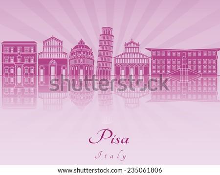 Pisa skyline in purple radiant orchid in editable vector file - stock vector