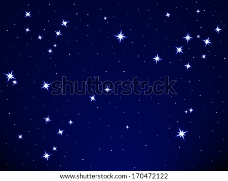 Pisces constellation on the starry sky - stock vector