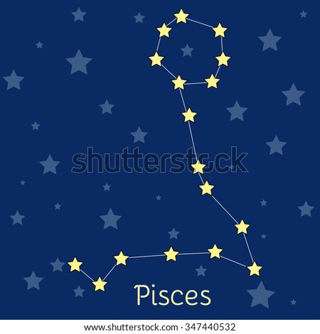 Pisces Fish Water Zodiac  constellation with stars in cosmos. Vector image with navy blue background and stars - stock vector