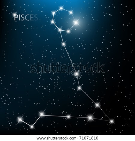 Pisces vector Zodiac sign bright stars in cosmos. - stock vector