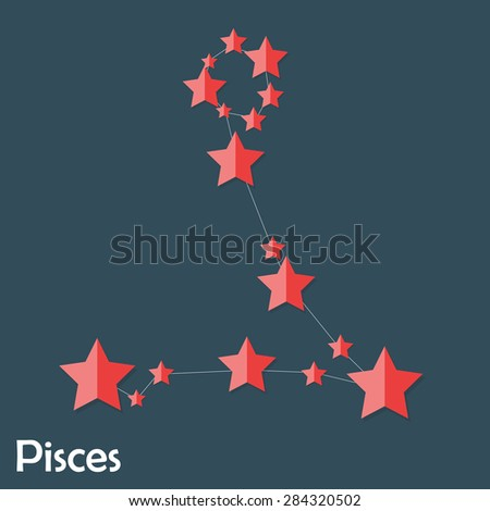 Pisces Zodiac Sign of the Beautiful Bright Stars Vector Illustration EPS10