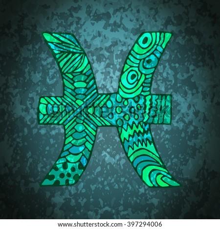 Pisces zodiac sign. Zodiac zentangle sign. Zodiac symbol. Zentangle doodle zodiac. Zentangle style vector. Zodiac symbol. Pisces horoscope. Pisces zodiac grunge banner. - stock vector