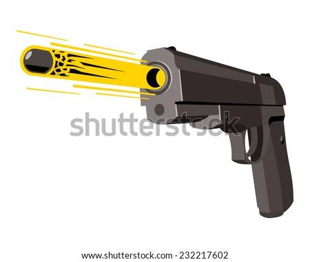 pistol fires a bullet, cartoon style - stock vector