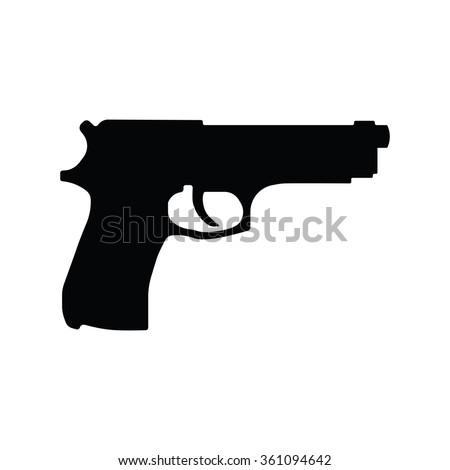 Pistol Gun Icon Vector Illustration on the white background. - stock vector