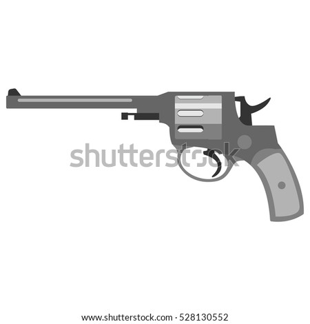 Pistol handgun security and military weapon. Metal revolver gun. Criminal and police firearm vector illustration.