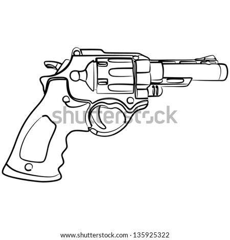 Pistol, illustration - stock vector