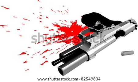 pistol lying in a pool of blood (vector illustration);