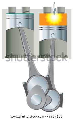 Pistons and cylinders section with ignition - stock vector