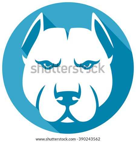 pit bull head flat icon (pit bull terrier) - stock vector