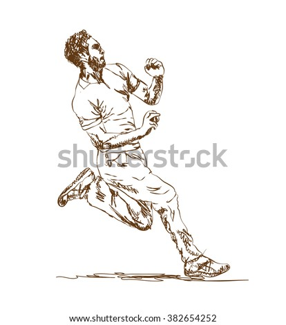 pitcher Cricket player in vector sketch on white background - stock vector