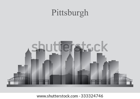 Pittsburgh city skyline silhouette in grayscale, vector illustration - stock vector