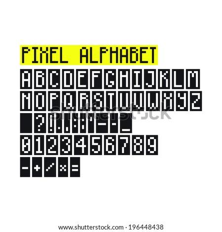 Pixel Art Alphabet Letters Numbers Punctuation Stock Vector