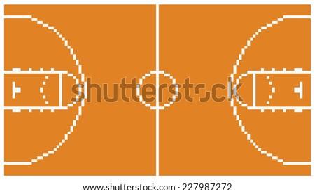 pixel art basketball sport court layout retro 8 bit illustration game design - stock vector