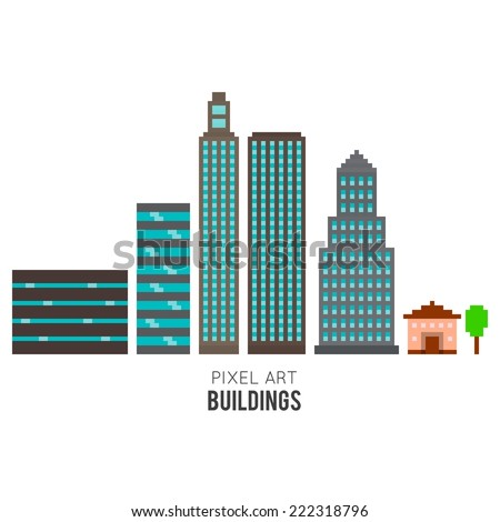 Pixel art buildings, skyscrappers and small house isolated on white background - stock vector